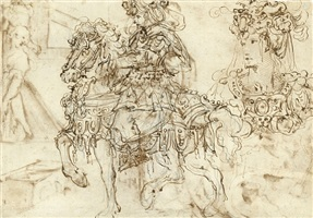 a soldier on horseback in elegant armour, and a further study of his head [recto]<br>two women and three children in an interior [verso] by giovan battista naldini